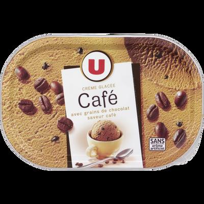 Glace café avec grains de chocolat U, 500g