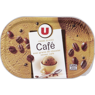Glace au café avec grains de chocolat U, 500g