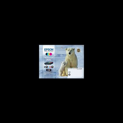 Pack 4 cartouches d'encre EPSON pour imprimante, T2636 Ours Polaire, sous blister