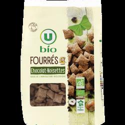 Céréales fourrées chocolat noisettes U BIO, sachet de 375g