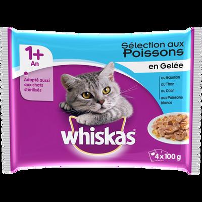 Aliment pour chat Grande Saveur en gelée au poisson 4 variétés WHISKAS, 4x100g