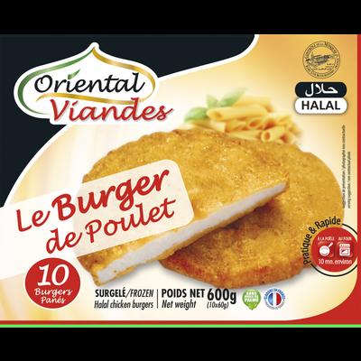 Burger de poulet pané halal ORIENTAL VIANDES, 600g