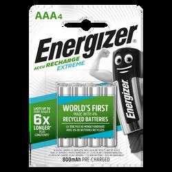 Piles Energizer prechargees ext, hr03, 4 unités