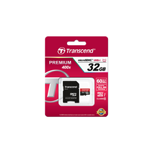 CARTE MEMOIRE MICRO SECURE DIGITAL TRANSCEND 32GO CLASS 10 U1 400X + ADAPTATEUR