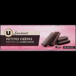 Crêpes dentelles de Bretagne enrobées de chocolat noir U SAVEURS, 100g