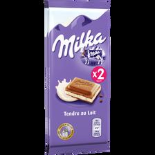 Chocolat tendre au lait MILKA, 2x100g