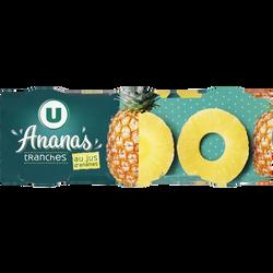 Ananas pur jus tranches entières U, 3x1/4, 408g