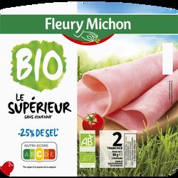 Jambon supérieur bio sans couenne -25% de sel FLEURY MICHON, 2 tranches soit 80g