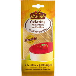 Gélatine alimentaire VAHINE, sachet de 9 feuilles de 17g