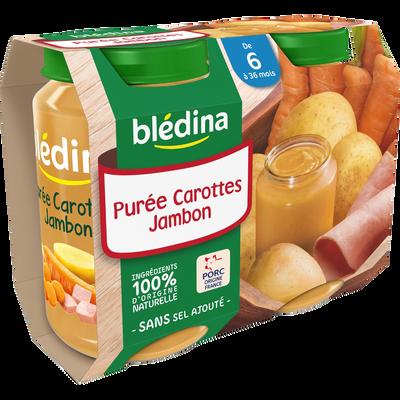 Petits pots pour bébé carottes et jambon BLEDINA, dès 6 mois, 2x200g
