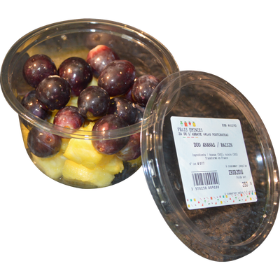 Duo ananas/raisin, barquette, 250g