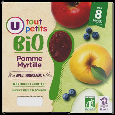 Pots pour bébé dessert pomme, myrtille ac mcx U TOUT PETITS BIO dés 8mois 4x100g