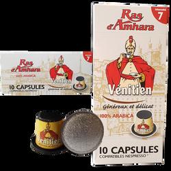 Capsules café vénitien intens 7 compatible RAS D'AMHARA, x10