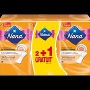 Nana Protège-slip Normal Plat Absorbant Nana, 2 Sachets De 34 + 1 Offert