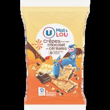 Crêpes fourrées chocolat et céréales U MAT et LOU, 8 unités, 256g