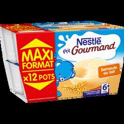 P'tit gourmand semoule au lait NESTLÉ, dès 6 mois, 12x100G
