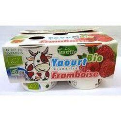 Yaourt bio au lait entier aromatisé framboise 4x125g Laiterie La Tourette