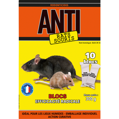 Raticide souricide bloc ANTI, efficacité radicale, 300g