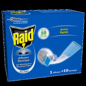 Raid Diffuseur Électrique Plaquette Inodore + Recharge Raid, 10 Plaquettes