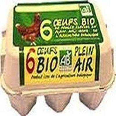 oeufs de poules plein air,issus de l'agriculture biologique coquy bte x6