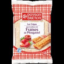 Crêpes fourrées à la confiture de fraises de Plougastel PAYSAN BRETON,6 unités, 180g