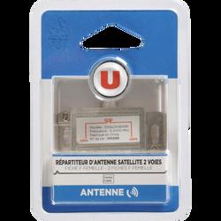 Répartiteur antenne U, 2 sorties, connecteur 1: 1 fiche F femelle, connecteur 2: 2 fiches F femelle métal