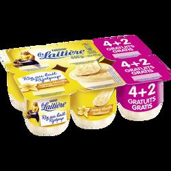 Riz au lait saveur vanille LA LAITIERE, 4x115g + 2 pots offerts