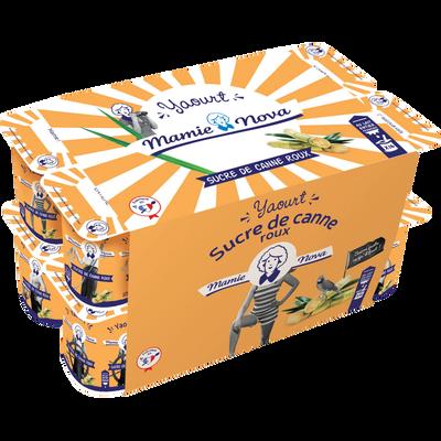 Yaourt lait entier sucre de canne roux MAMIE NOVA, pack de 16x125g
