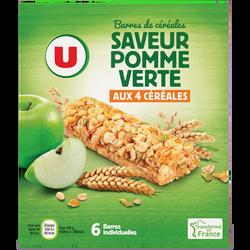 Barres de céréales saveur pomme verte U, 6x125g