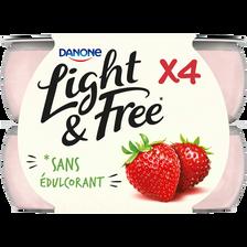 Spécialité laitière sucrée aromatisée à la fraise et fraise des bois LIGHT&FREE, 4x120g