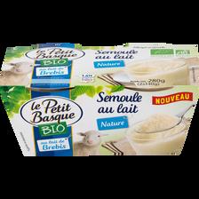 Semoule au lait de brebis nature sucré bio LE PETIT BASQUE, 2x140g