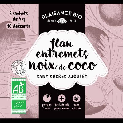 Préparation pour flan et entremets à la noix de coco sans sucres PLAISANCE BIO, 8 sachets, 32g