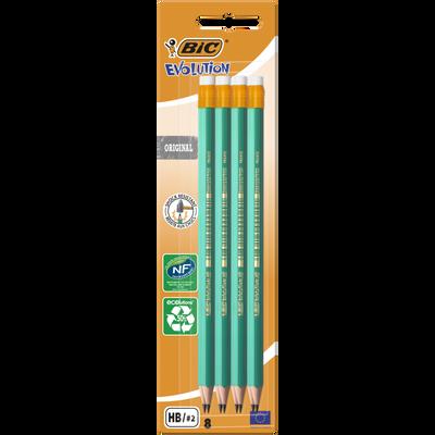 Crayons graphite Evolution 655 BIC, HB, corps en résine, 8 unités