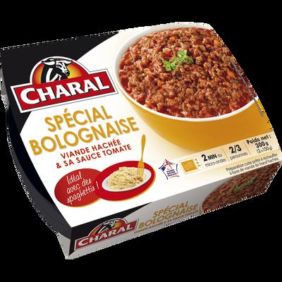 Viande hachée cuite/sauce tomate Spéciale Bolognaise, CHARAL, France,300g