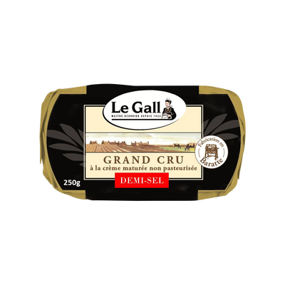 Beurre de baratte cru demi sel LE GALL, 80% de MG, plaquette de 250g