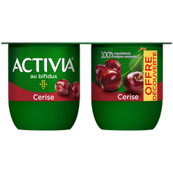 Lait fermenté sucré au bifidus cerises ACTIVIA, 4x125g