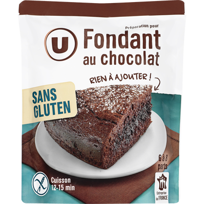 Fondant chocolat U SANS GLUTEN, doypack de 500g