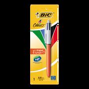 Bic Stylo Bille Bic, Mine Rétractable Et Rechargeable, Pointe Fine, 1 Unité, 4 Couleurs Assorties
