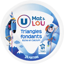 Fromage pasteurisé triangles fondants fromagers U MAT&LOU, 19,5%mg, boite ronde x24, 400g.