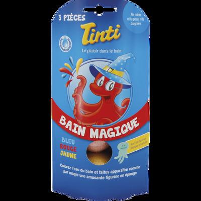Boîte 3 boules rouge, bleue, jaune bain magique TINTI