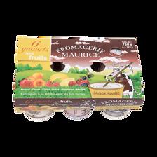 Yaourt brassés aux fruits FROMAGERIE MAURICE,  pack de 125g