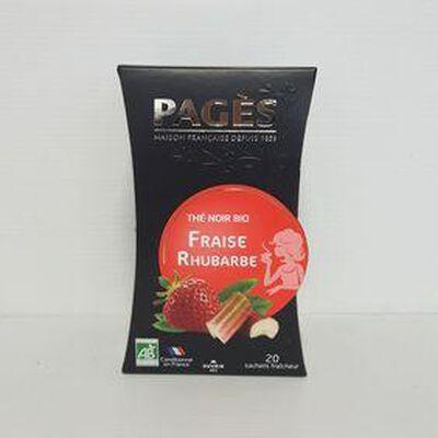 Thé noir bio fraise rhubarbe PAGÈS boîte 36g