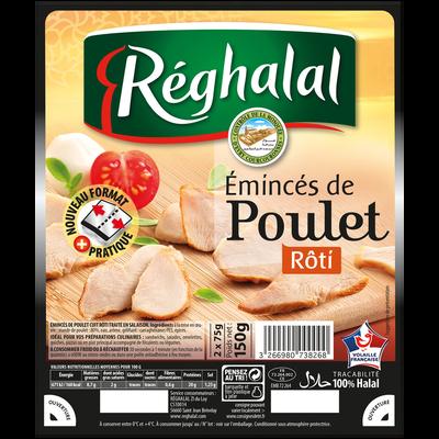 Emincés de poulet rôti halal REGHALAL, 150g