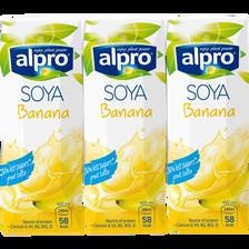 Briques boisson soja, banane, avec calcuim et vitamines ALPRO, 3x250ml