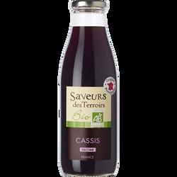 Nectar de cassis bio SAVEURS DES TERROIRS, bouteille de 75cl