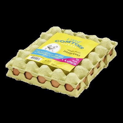 Oeufs de poules élevées au sol moyen OEUF COMTOIS, x26+4 offerts