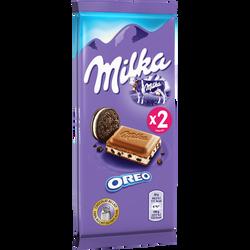 Chocolat au lait et éclats de biscuits Oréo MILKA, 2x100g