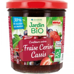 CONFITURE FRAISE CERISE CASSIS JARDIN BIO