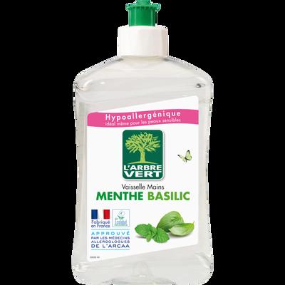 Liquide vaisselle et mains concentré menthe-basilic L'ARBRE VERT, flacon de 500ml