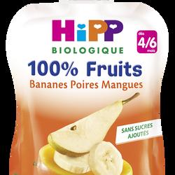 Gourde banane poire mangue bio HIPP, dès 4/6 mois, 90g